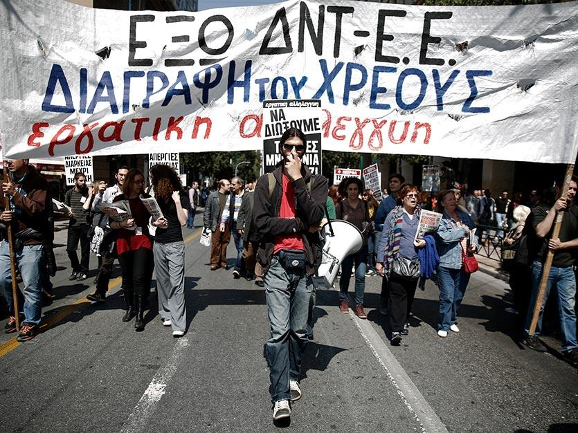 Demonstrators in Athens, April 2014, protesting against austerity policies imposed by Greece's foreign creditors. REUTERS/Yorgos Karahalis