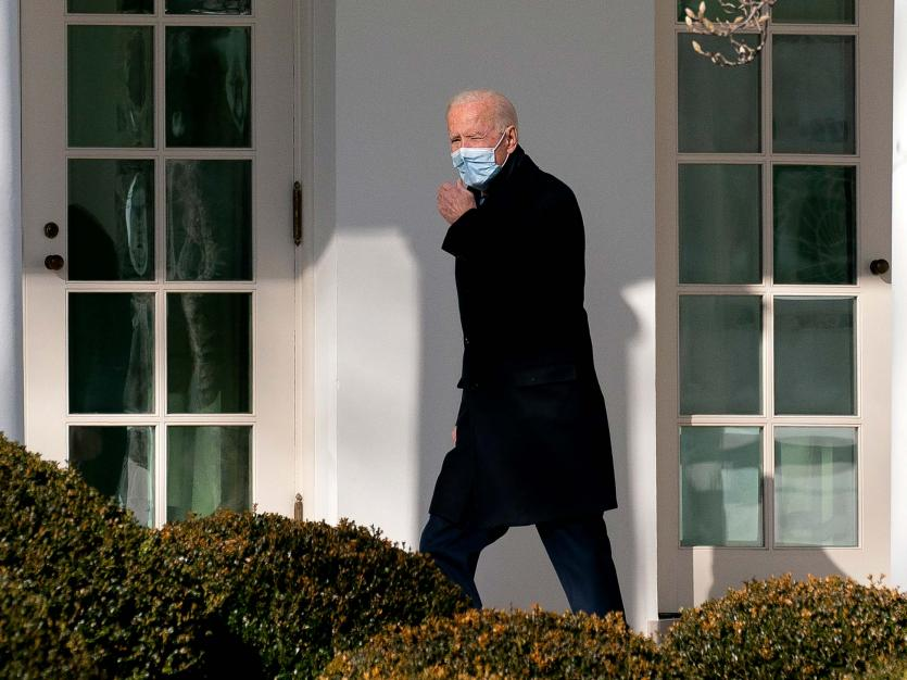 U.S. President Joe Biden walks to the Oval Office of the White House after arriving on Marine One in Washington, D.C., U.S., on Monday, Feb. 8, 2021.