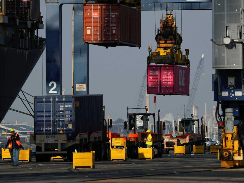 Shipping containers are loaded onto a ship at the Port of Los Angeles in Los Angeles, California, U.S., January 30, 2019