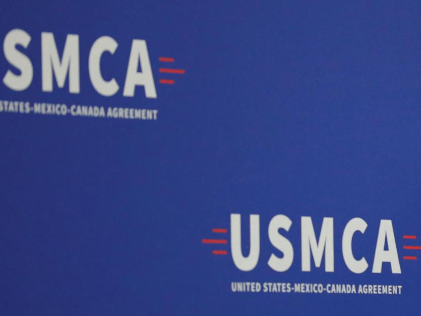 The stage is set for the arrival of U.S. President Donald Trump prior to a speech touting the president's support of the passage of the U.S.-Mexico-Canada (USMCA) trade deal during a visit to Derco Aerospace Inc.,