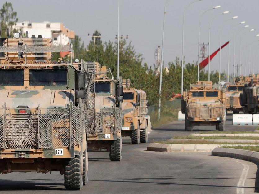 Turkish military vehicles are seen in the Turkish border town of Ceylanpinar in Sanliurfa province, Turkey, October 11, 2019.
