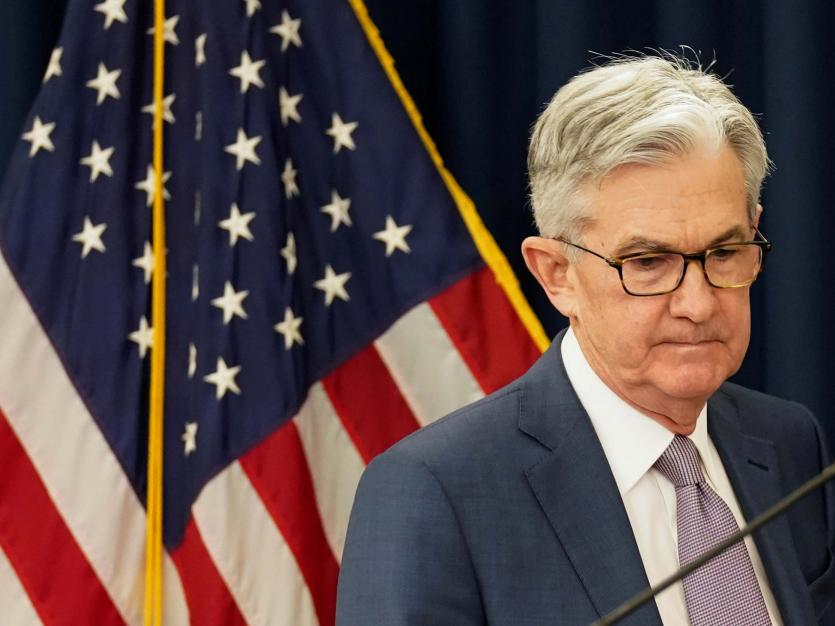 U.S. Federal Reserve Chairman Jerome Powell arrives to speak to reporters after the Federal Reserve cut interest rates in an emergency move designed to shield the world's largest economy from the impact of the coronavirus, in Washington, U.S.