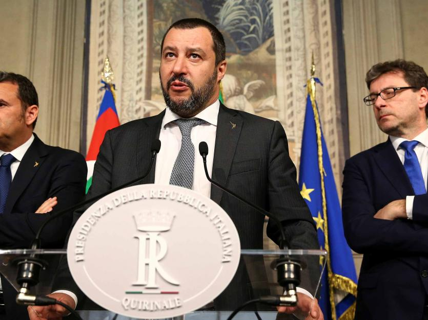 League party leader Matteo Salvini speaks to the media during the second day of consultations with Italian President Sergio Mattarella at the Quirinal Palace in Rome, Italy, April 5, 2018.