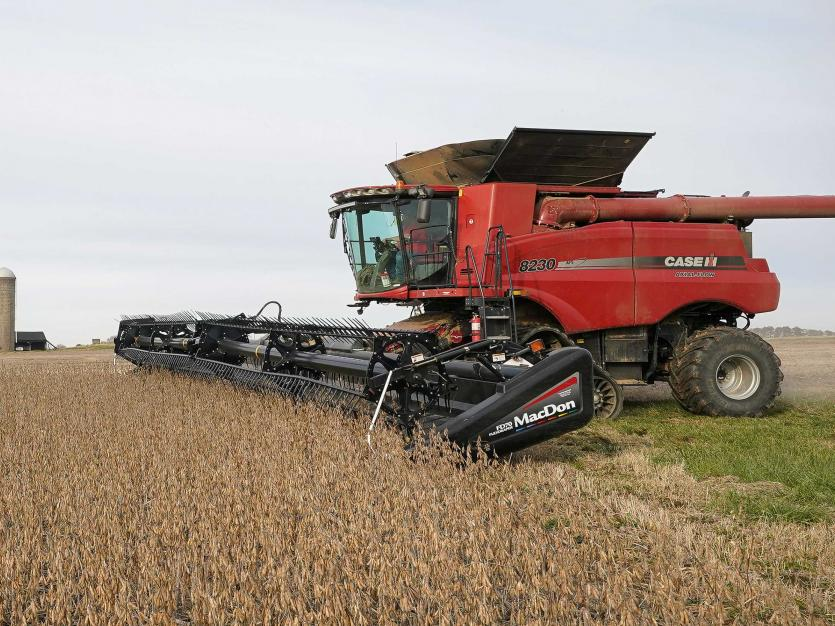 Soybeans are harvested from a field on Hodgen Farm in Roachdale, Indiana, U.S. November 8, 2019. Picture taken November 8, 2019.