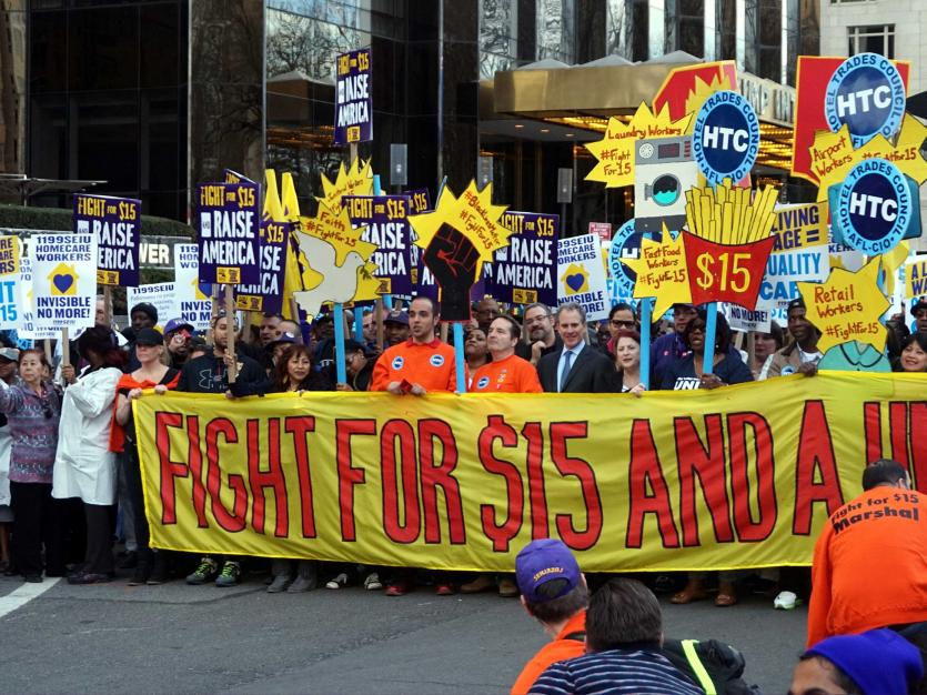 NYC Rally and March to raise the minimum wage in America.