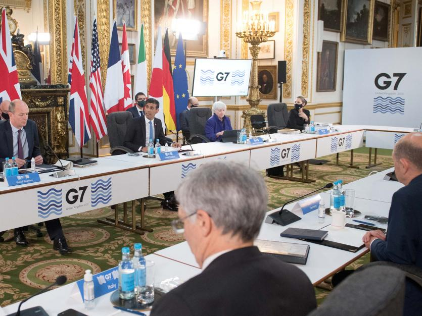 Britain's Chancellor of the Exchequer Rishi Sunak speaks at a meeting of finance ministers from across the G7 nations ahead of the G7 leaders' summit, at Lancaster House in London, Britain June 4, 2021.
