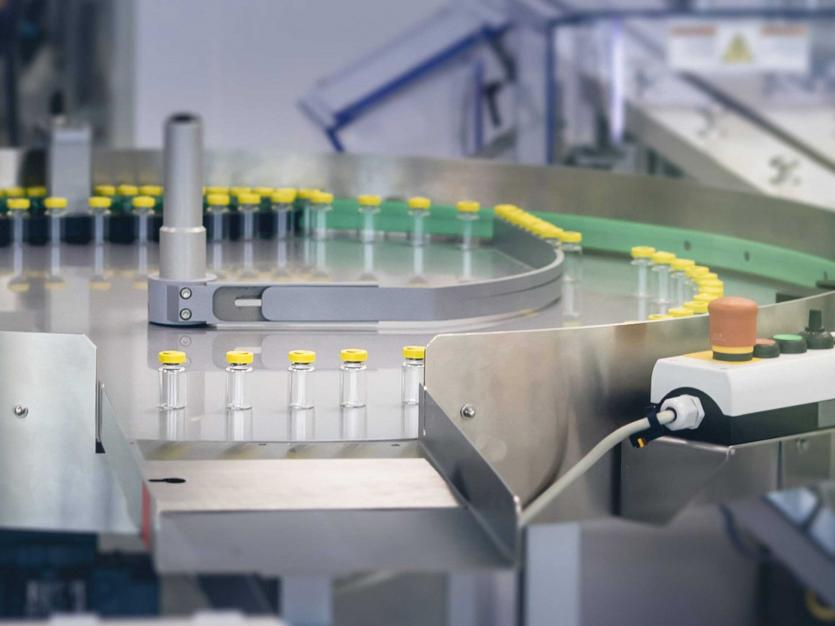 A production facility produces the COVID-19 vaccine, April 29, 2021.