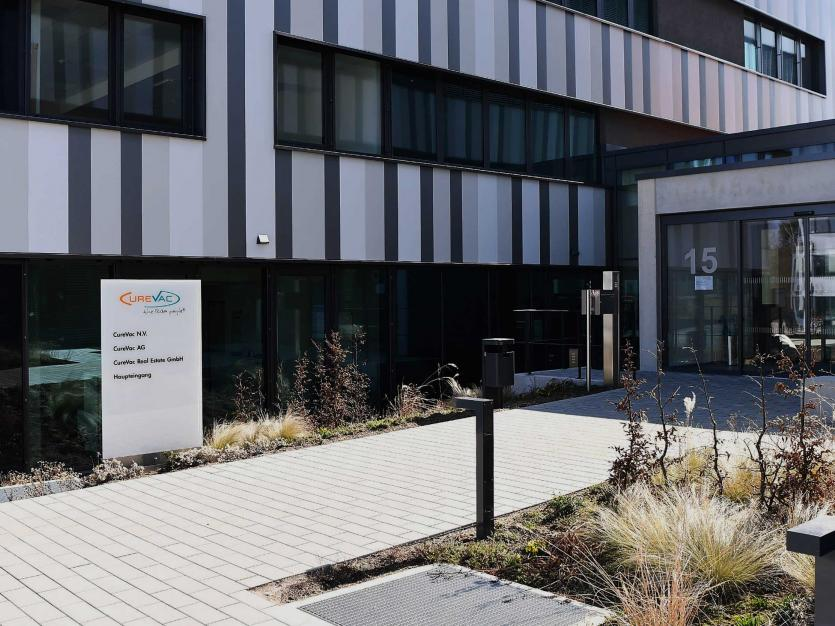 The entrance of CureVac, the headquarters of the biopharmaceutical company, is shown. Tuebingen, Germany on July 3, 2021