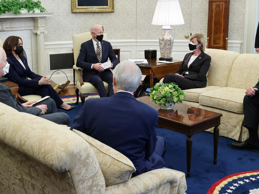 President Joe Biden and Vice President Kamala Harris during a meeting with a bipartisan group of House and Senate members on U.S. supply chains, in the Oval Office, Wednesday, Feb. 24, 2021