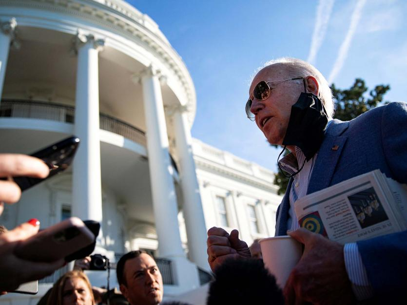 : U.S. President Joe Biden speaks to reporters on the South Lawn of the White House, in Washington, U.S., October 2, 2021.