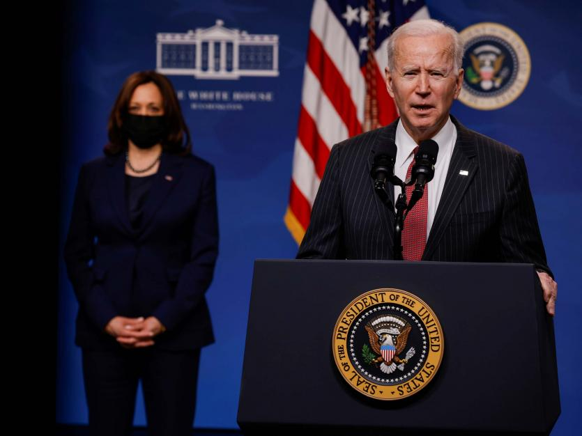 U.S. President Joe Biden delivers remarks on the political situation in Myanmar at the White House in Washington, U.S., February 10, 2021. REUTERS/Carlos Barria