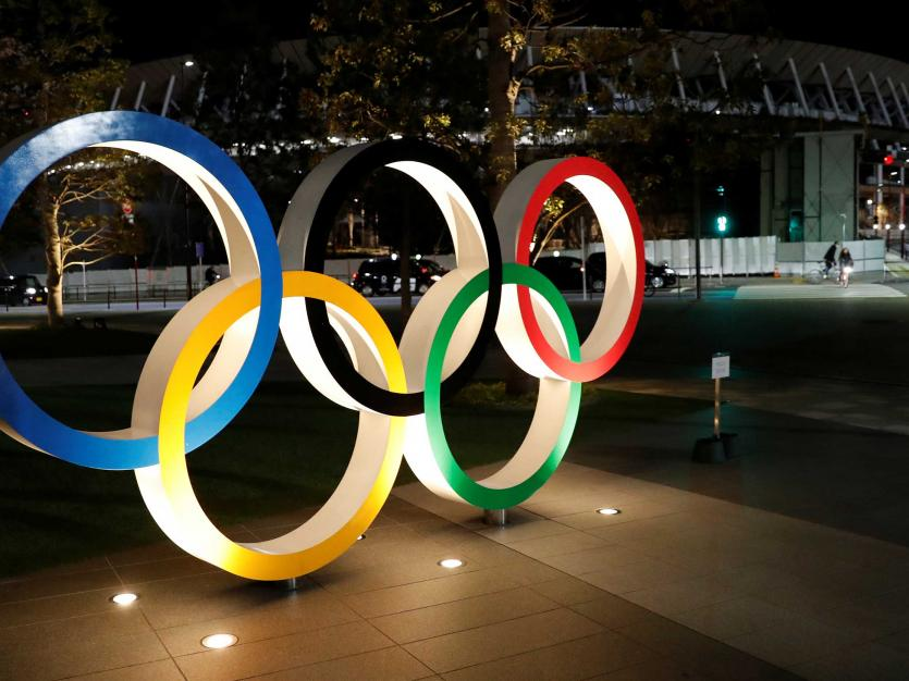 A general view of Olympic rings following an outbreak of the coronavirus disease (COVID-19), in front of the Japan Olympics Museum in Tokyo, Japan March 24, 2020.