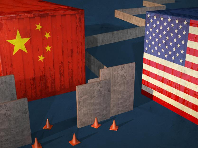 China and US shipping crates, editorial image