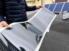 A flexible solar panel is seen at Eni's Renewable Energy and Environmental Research & Development Center in Novara, Italy, September 26, 2019. Picture taken September 26, 2019. REUTERS/Flavio Lo Scalzo