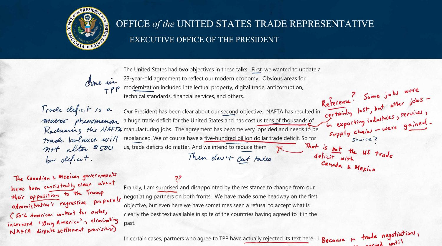 "US Trade Representative ""Surprised and Disappointed"" Statement from Latest NAFTA Talks—Annotated and Explained"