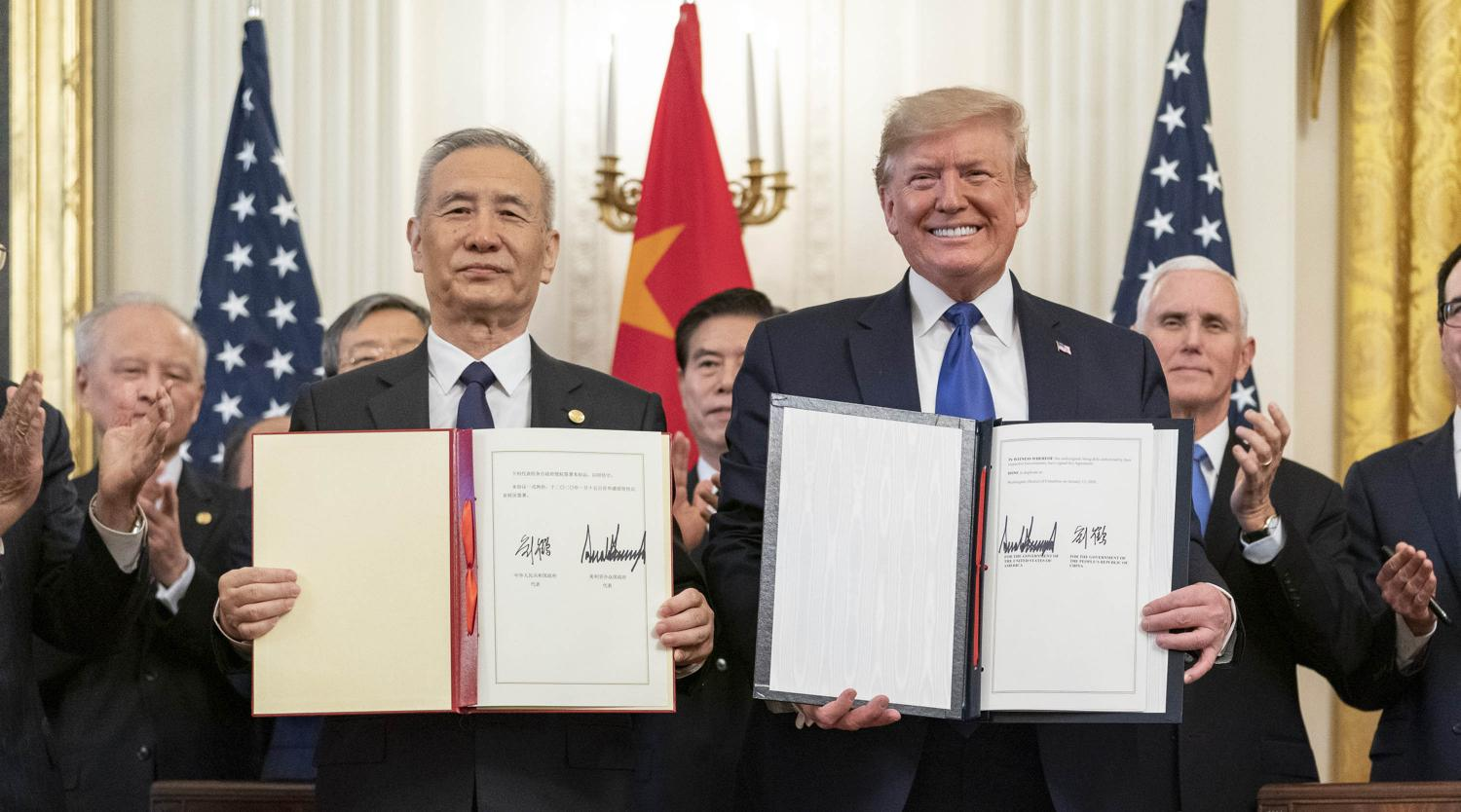 President Donald J. Trump, joined by Chinese Vice Premier Liu He, sign the U.S. China Phase One Trade Agreement Wednesday, Jan. 15, 2020, in the East Room of the White House.