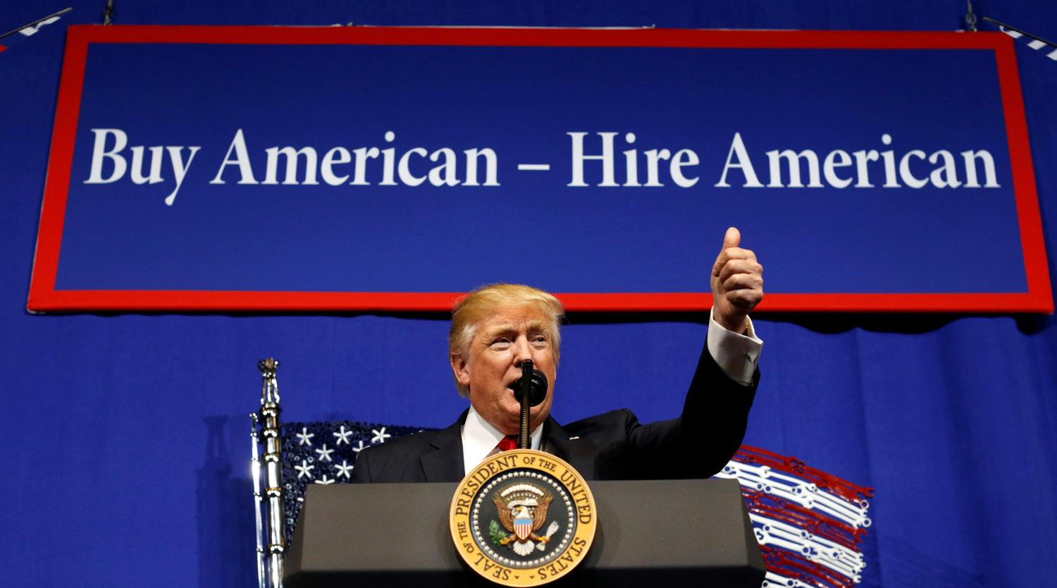 U.S. President Donald Trump speaks before signing an executive order directing federal agencies to recommend changes to a temporary visa program used to bring foreign workers to the United States