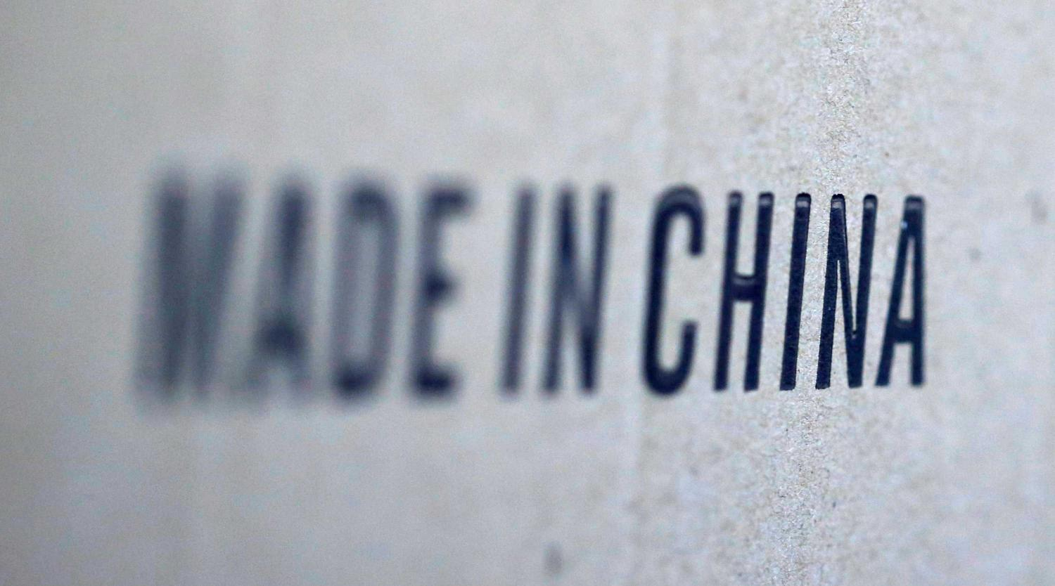 Words 'Made in China' are pictured on a box of products imported from China, August 10, 2018.