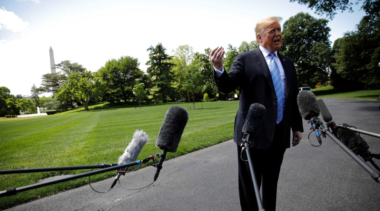 U.S. President Donald Trump talks to reporters from the White House in Washington, U.S., May 14, 2019.