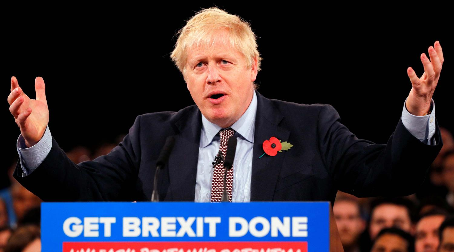 Britain's Prime Minister Boris Johnson speaks during an event launching the Conservative Party's general election campaign in Birmingham, Britain, November 6, 2019.