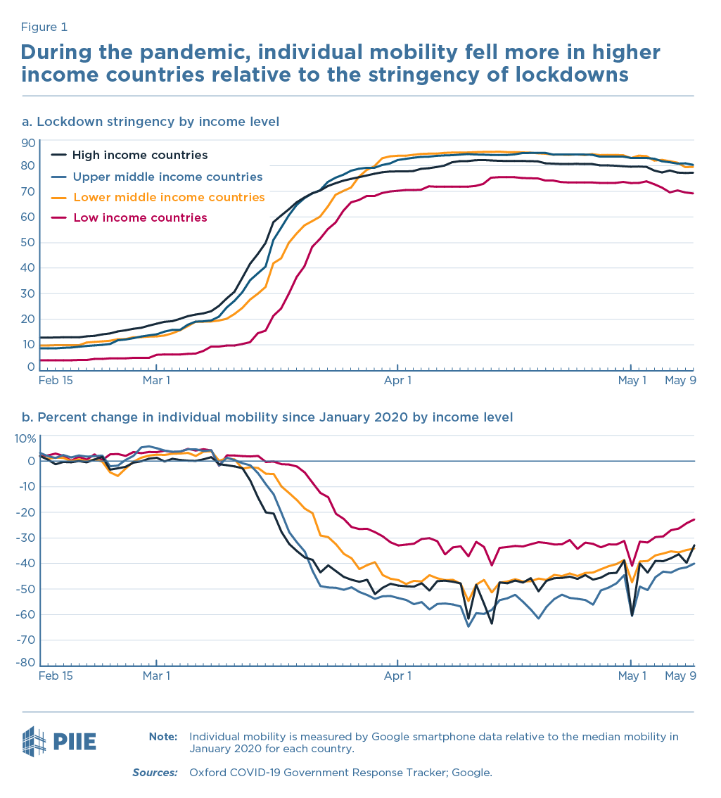 During the pandemic, individual mobility fell more in higher income countries relative to the stringency of lockdowns