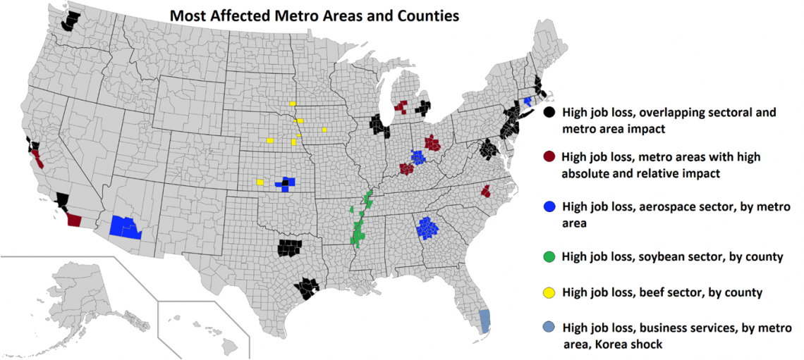Map: Most affected metro areas and counties